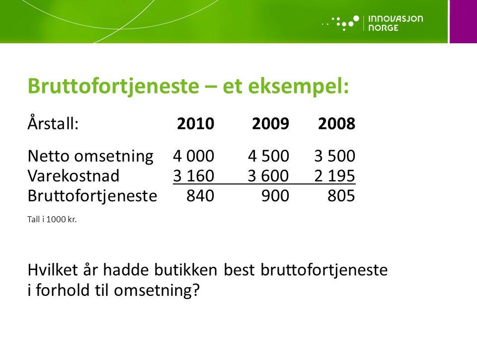 Bruttofortjeneste – et eksempel: Årstall:201020092008 Netto omsetning4 0004 5003 500 Varekostnad3 160 3 6002 195 Bruttofortjeneste840900 805 Tall i 10