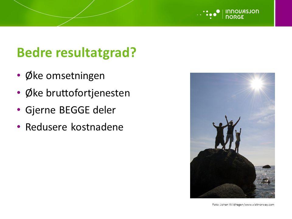 Bedre resultatgrad? Øke omsetningen Øke bruttofortjenesten Gjerne BEGGE deler Redusere kostnadene Foto: Johan Wildhagen/www.visitnorway.com