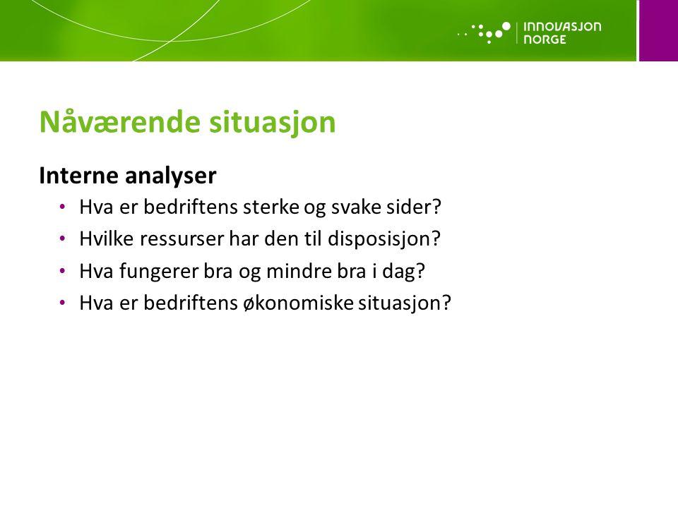 Nåværende situasjon Interne analyser Hva er bedriftens sterke og svake sider? Hvilke ressurser har den til disposisjon? Hva fungerer bra og mindre bra