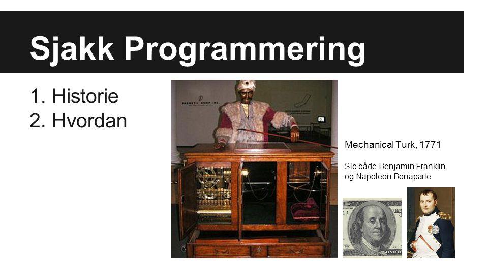 Sjakk Programmering 1. Historie 2. Hvordan Mechanical Turk, 1771 Slo både Benjamin Franklin og Napoleon Bonaparte