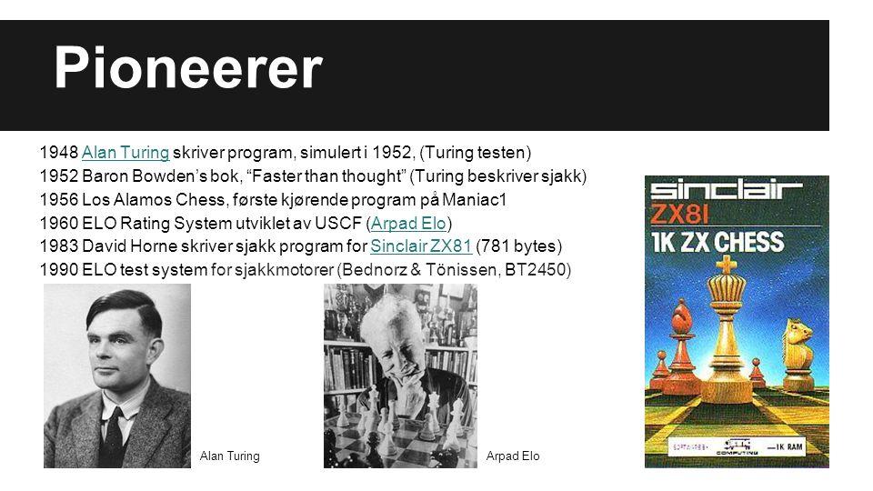 """Pioneerer 1948 Alan Turing skriver program, simulert i 1952, (Turing testen)Alan Turing 1952 Baron Bowden's bok, """"Faster than thought"""" (Turing beskriv"""