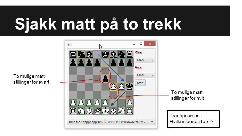 Sjakk matt på to trekk To mulige matt stillinger for svart To mulige matt stillinger for hvit Transposisjon ! Hvilken bonde først?