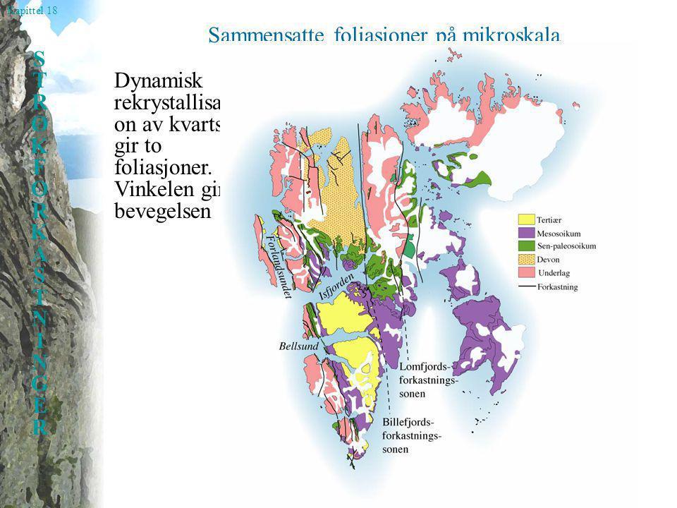 Kapittel 18 STRØKFORKASTNINGERSTRØKFORKASTNINGER Sammensatte foliasjoner på mikroskala Dynamisk rekrystallisasj on av kvarts gir to foliasjoner. Vinke