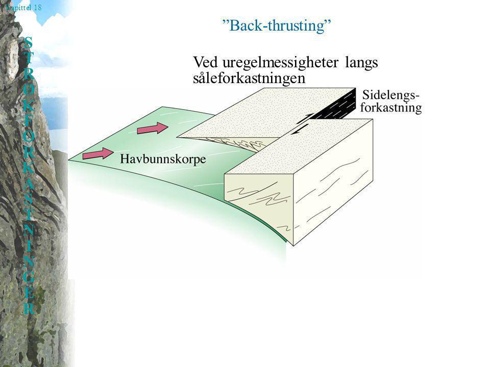 Kapittel 18 STRØKFORKASTNINGERSTRØKFORKASTNINGER Back-thrusting Ved uregelmessigheter langs såleforkastningen