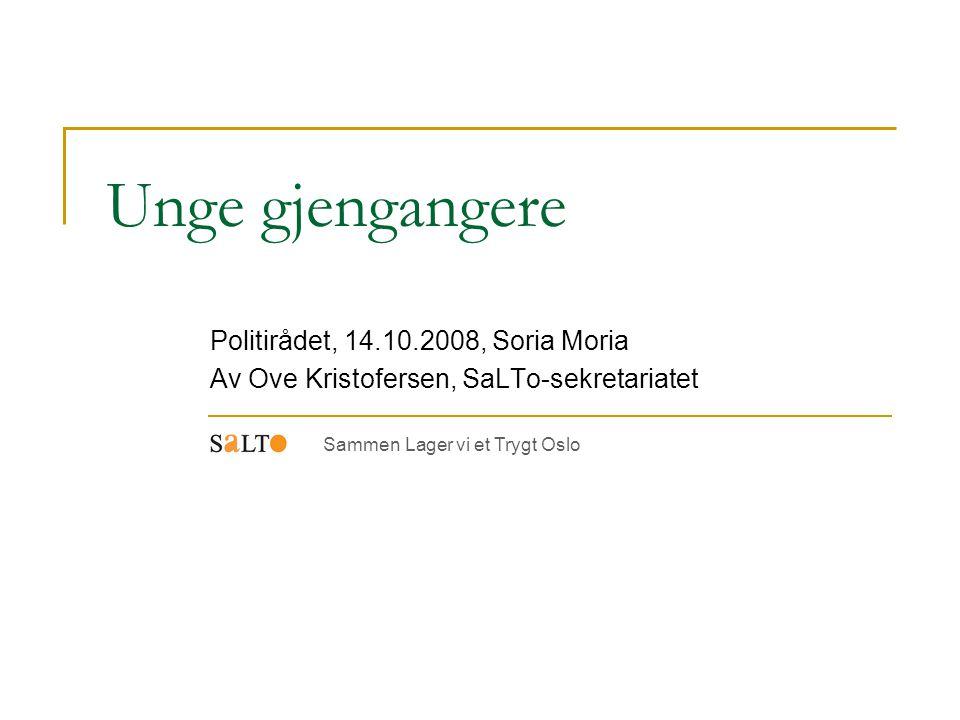 Unge gjengangere Politirådet, 14.10.2008, Soria Moria Av Ove Kristofersen, SaLTo-sekretariatet Sammen Lager vi et Trygt Oslo