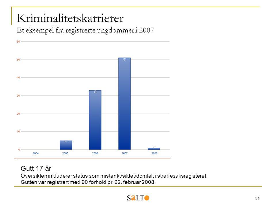 14 Kriminalitetskarrierer Et eksempel fra registrerte ungdommer i 2007 Gutt 17 år Oversikten inkluderer status som mistenkt/siktet/domfelt i straffesa