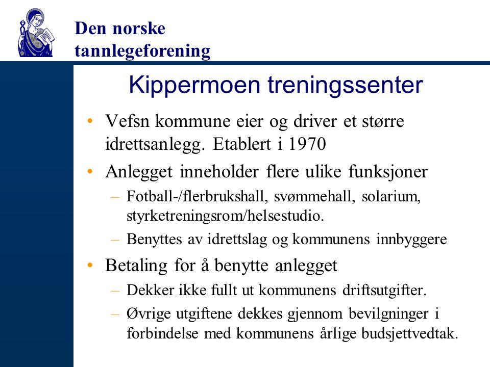 Den norske tannlegeforening Kippermoen treningssenter Vefsn kommune eier og driver et større idrettsanlegg. Etablert i 1970 Anlegget inneholder flere