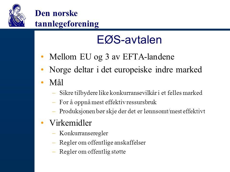 Den norske tannlegeforening EØS-avtalen Mellom EU og 3 av EFTA-landene Norge deltar i det europeiske indre marked Mål –Sikre tilbydere like konkurrans