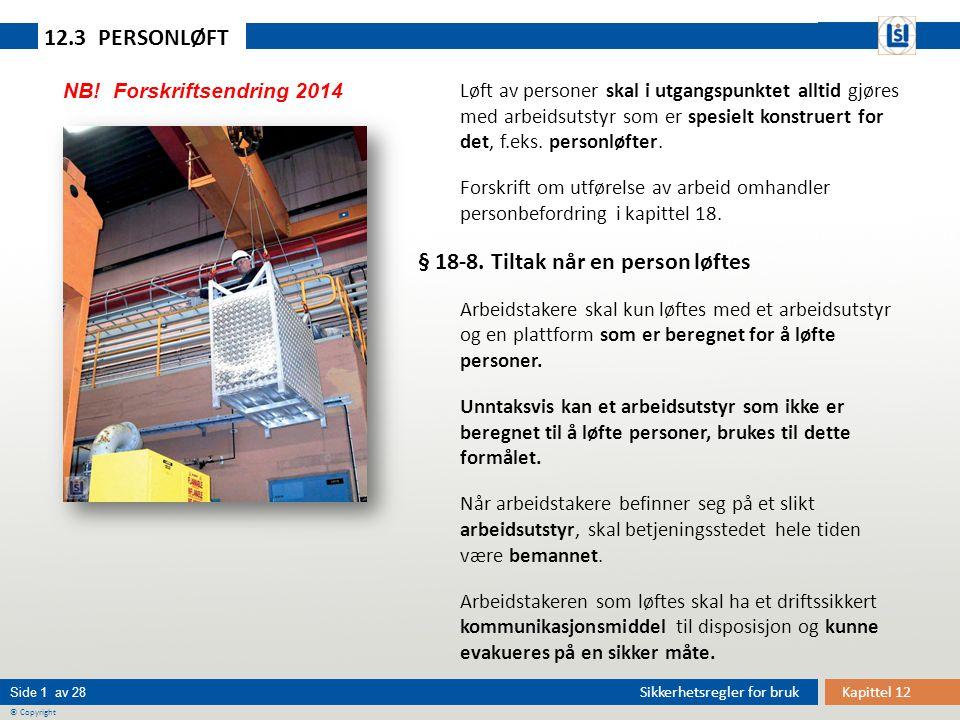 Kapittel 12 Side 1 av 28 © Copyright Sikkerhetsregler for bruk 12.3 PERSONLØFT Løft av personer skal i utgangspunktet alltid gjøres med arbeidsutstyr som er spesielt konstruert for det, f.eks.
