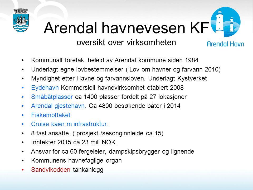 Arendal havnevesen KF oversikt over virksomheten Kommunalt foretak, heleid av Arendal kommune siden 1984. Underlagt egne lovbestemmelser ( Lov om havn