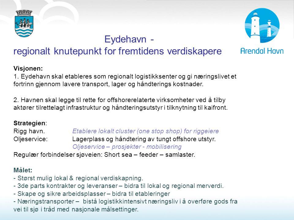 Eydehavn - regionalt knutepunkt for fremtidens verdiskapere Visjonen: 1. Eydehavn skal etableres som regionalt logistikksenter og gi næringslivet et f