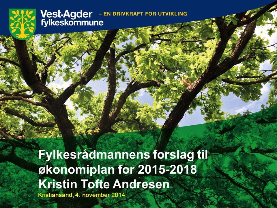 Fylkesrådmannens forslag til økonomiplan for 2015-2018 Kristin Tofte Andresen Kristiansand, 4. november 2014