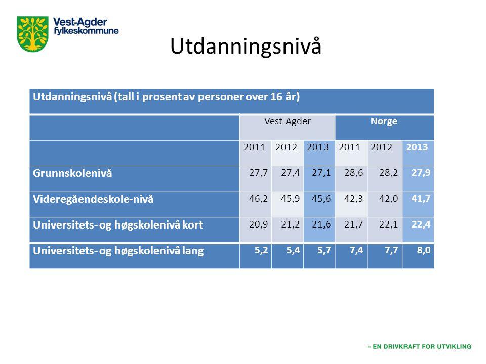 Utdanningsnivå (tall i prosent av personer over 16 år) Vest-AgderNorge 201120112012201220132013201120112012201220132013 Grunnskolenivå 27,727,427,128,