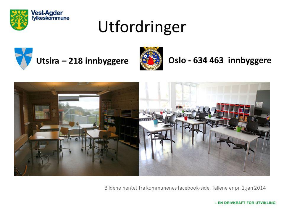 Utfordringer Utsira – 218 innbyggere Oslo - 634 463 innbyggere Bildene hentet fra kommunenes facebook-side. Tallene er pr. 1.jan 2014