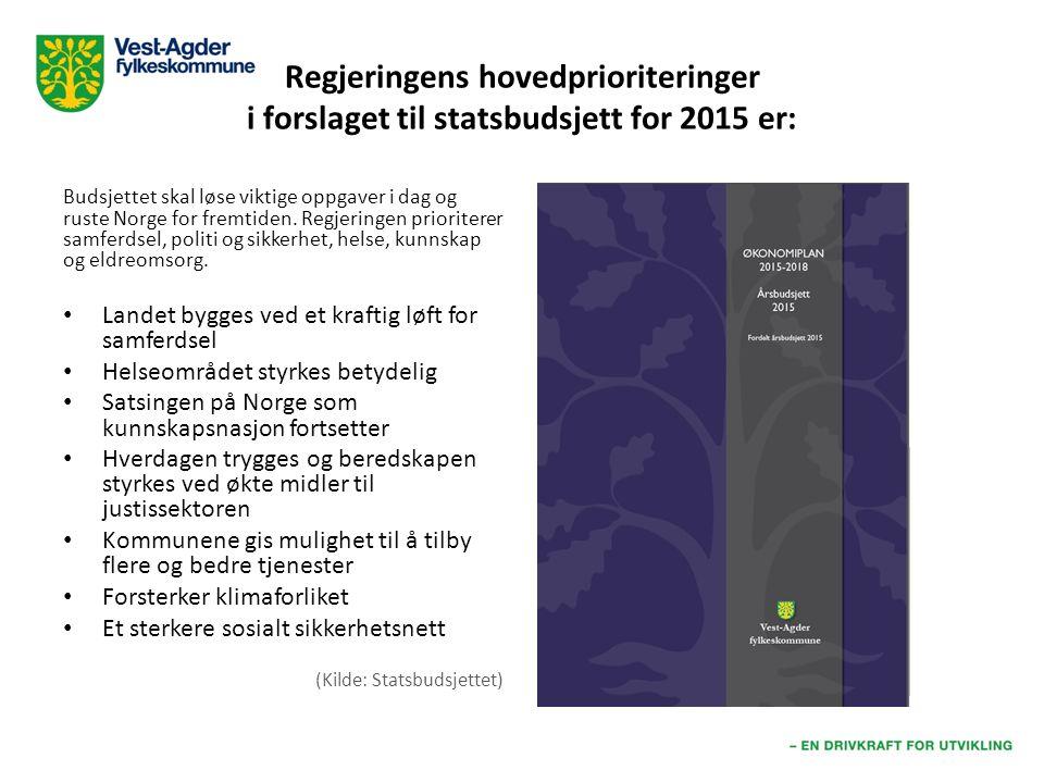Regjeringens hovedprioriteringer i forslaget til statsbudsjett for 2015 er: Budsjettet skal løse viktige oppgaver i dag og ruste Norge for fremtiden.