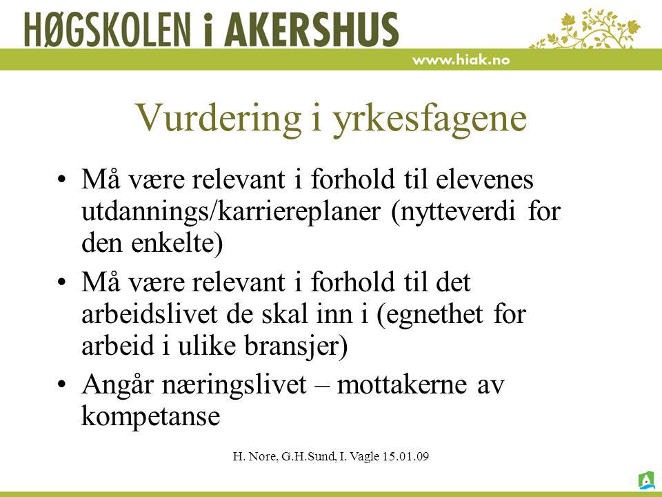 H. Nore, G.H.Sund, I. Vagle 15.01.09 Vurdering i yrkesfagene Må være relevant i forhold til elevenes utdannings/karriereplaner (nytteverdi for den enk