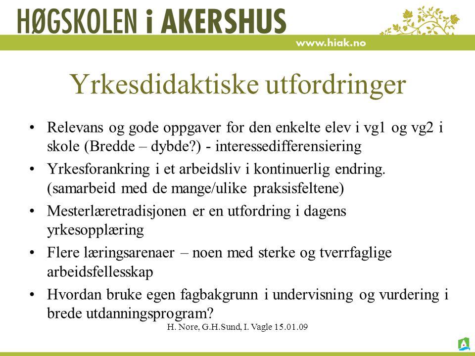 H. Nore, G.H.Sund, I. Vagle 15.01.09 Yrkesdidaktiske utfordringer Relevans og gode oppgaver for den enkelte elev i vg1 og vg2 i skole (Bredde – dybde?