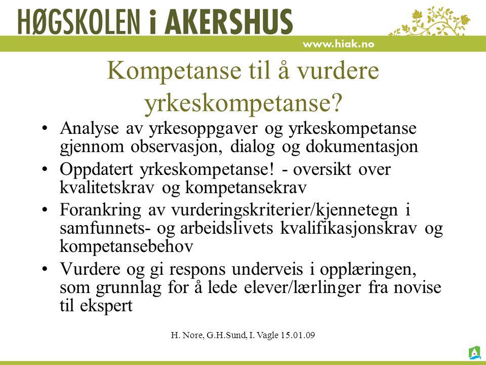 H. Nore, G.H.Sund, I. Vagle 15.01.09 Kompetanse til å vurdere yrkeskompetanse? Analyse av yrkesoppgaver og yrkeskompetanse gjennom observasjon, dialog