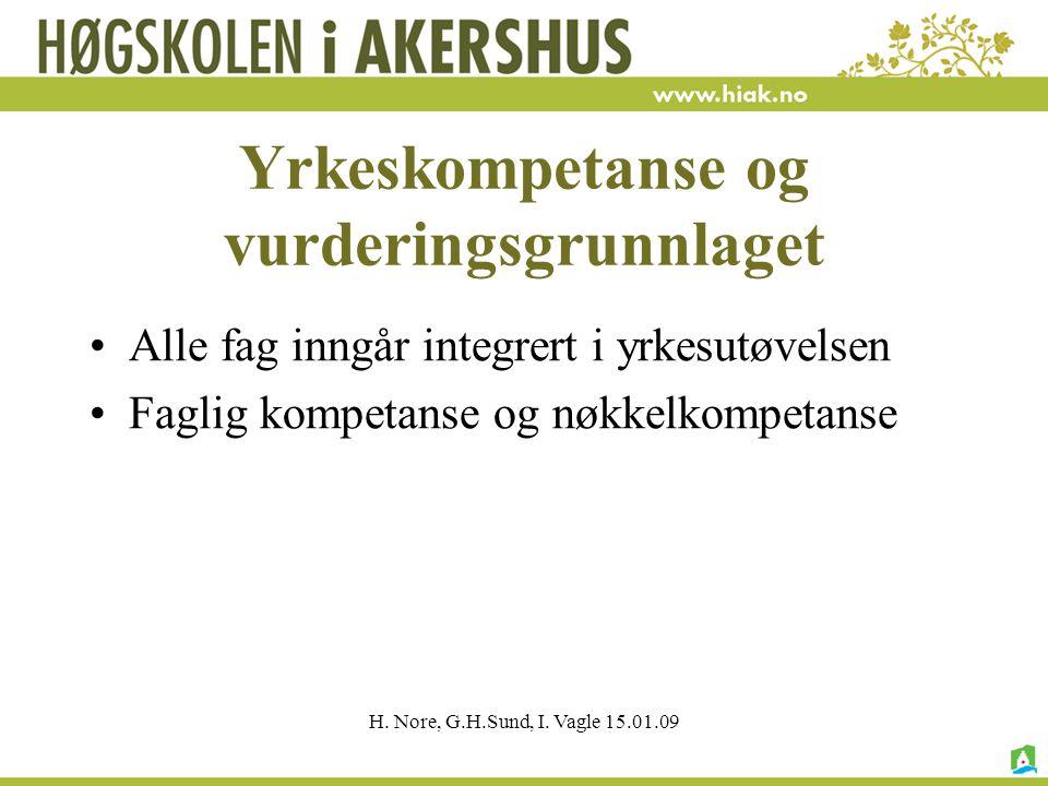 H. Nore, G.H.Sund, I. Vagle 15.01.09 Yrkeskompetanse og vurderingsgrunnlaget Alle fag inngår integrert i yrkesutøvelsen Faglig kompetanse og nøkkelkom