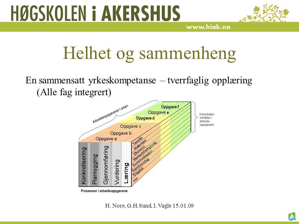 H. Nore, G.H.Sund, I. Vagle 15.01.09 Helhet og sammenheng En sammensatt yrkeskompetanse – tverrfaglig opplæring (Alle fag integrert)