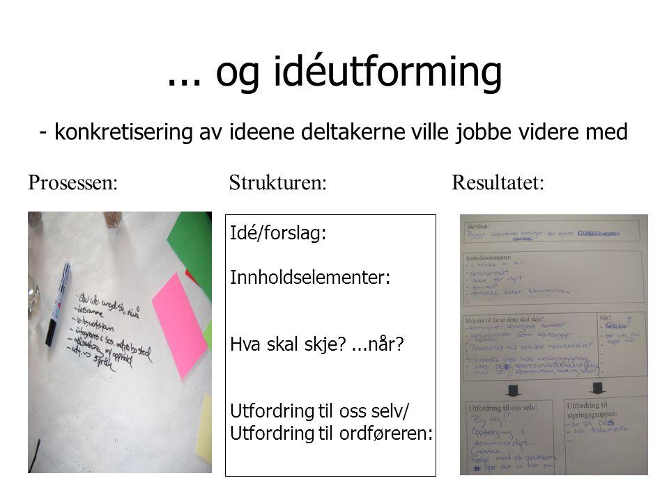 ... og idéutforming Idé/forslag: Innholdselementer: Hva skal skje ...når.