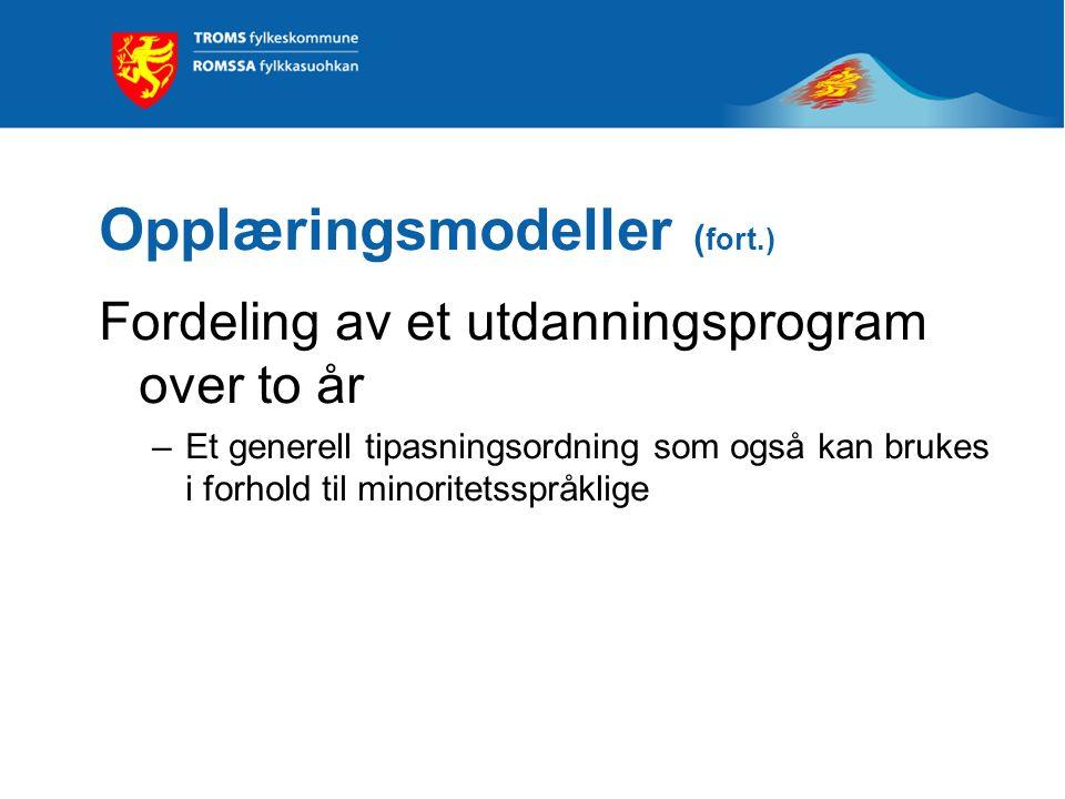 Opplæringsmodeller ( fort.) Fordeling av et utdanningsprogram over to år –Et generell tipasningsordning som også kan brukes i forhold til minoritetsspråklige
