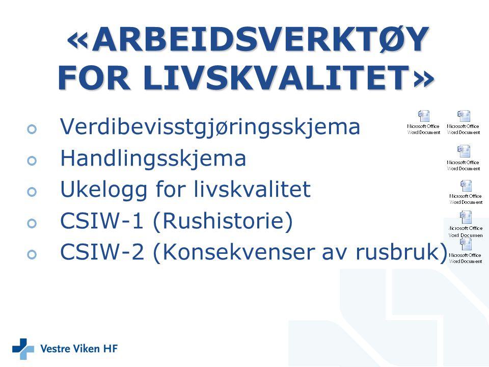 «ARBEIDSVERKTØY FOR LIVSKVALITET» Verdibevisstgjøringsskjema Handlingsskjema Ukelogg for livskvalitet CSIW-1 (Rushistorie) CSIW-2 (Konsekvenser av rus