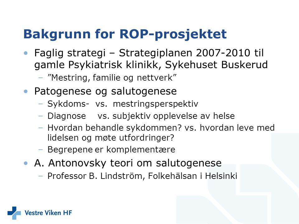 """Bakgrunn for ROP-prosjektet Faglig strategi – Strategiplanen 2007-2010 til gamle Psykiatrisk klinikk, Sykehuset Buskerud –""""Mestring, familie og nettve"""