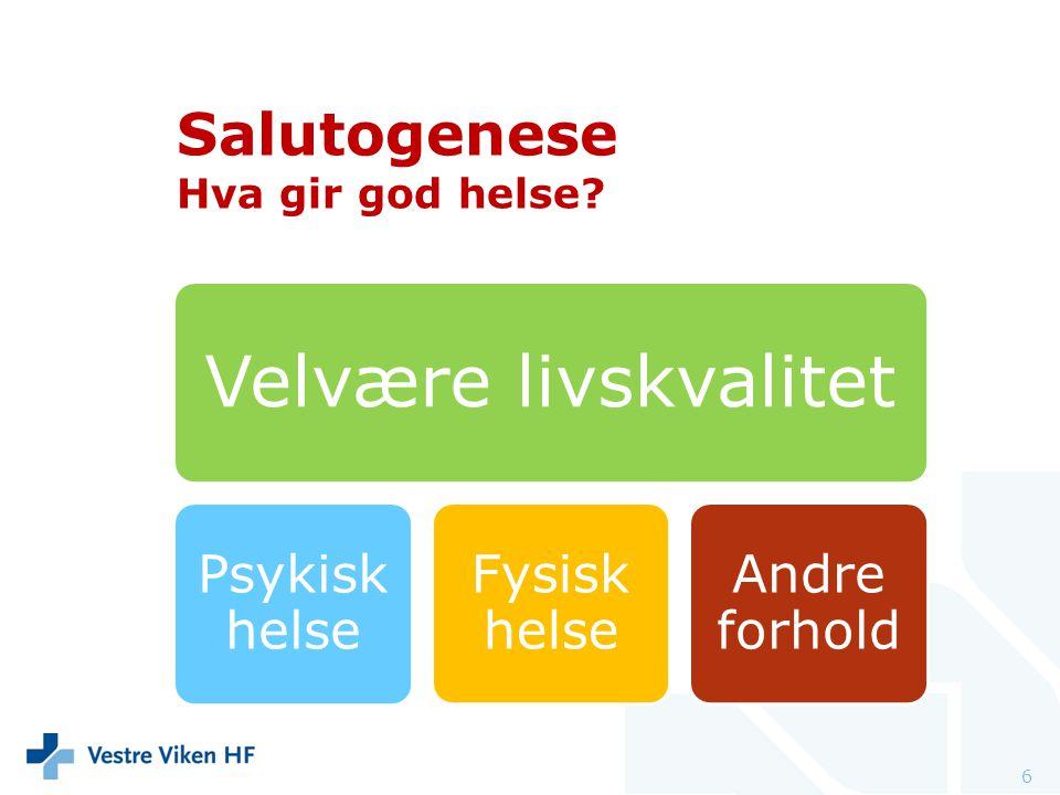 6 Velvære livskvalitet Psykisk helse Fysisk helse Andre forhold Salutogenese Hva gir god helse?