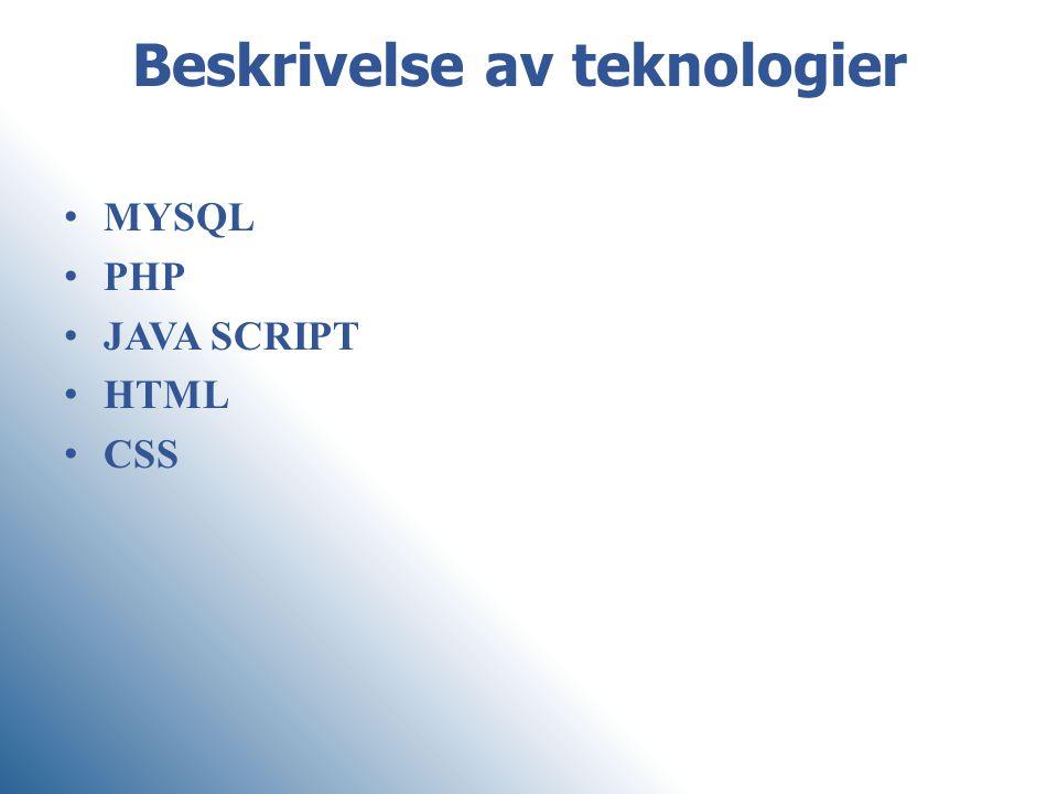 Beskrivelse av teknologier MYSQL PHP JAVA SCRIPT HTML CSS