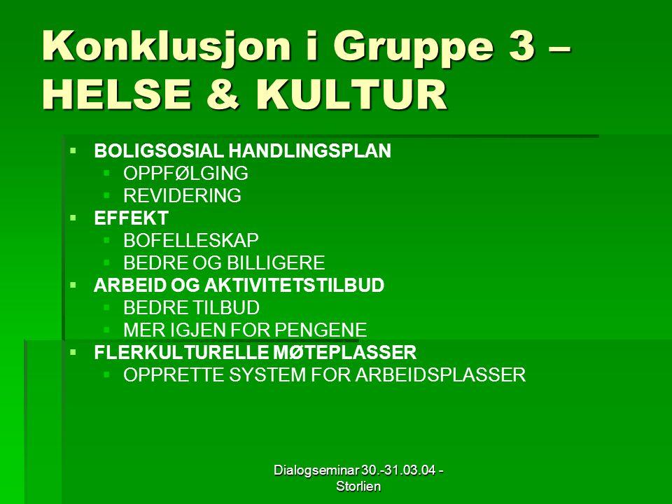 Dialogseminar 30.-31.03.04 - Storlien Konklusjon i Gruppe 3 – HELSE & KULTUR   BOLIGSOSIAL HANDLINGSPLAN   OPPFØLGING   REVIDERING   EFFEKT   BOFELLESKAP   BEDRE OG BILLIGERE   ARBEID OG AKTIVITETSTILBUD   BEDRE TILBUD   MER IGJEN FOR PENGENE   FLERKULTURELLE MØTEPLASSER   OPPRETTE SYSTEM FOR ARBEIDSPLASSER