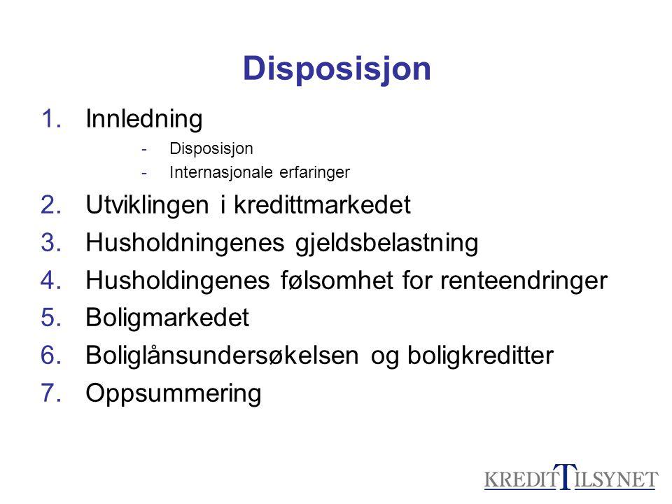 Disposisjon 1.Innledning -Disposisjon -Internasjonale erfaringer 2.Utviklingen i kredittmarkedet 3.Husholdningenes gjeldsbelastning 4.Husholdingenes f