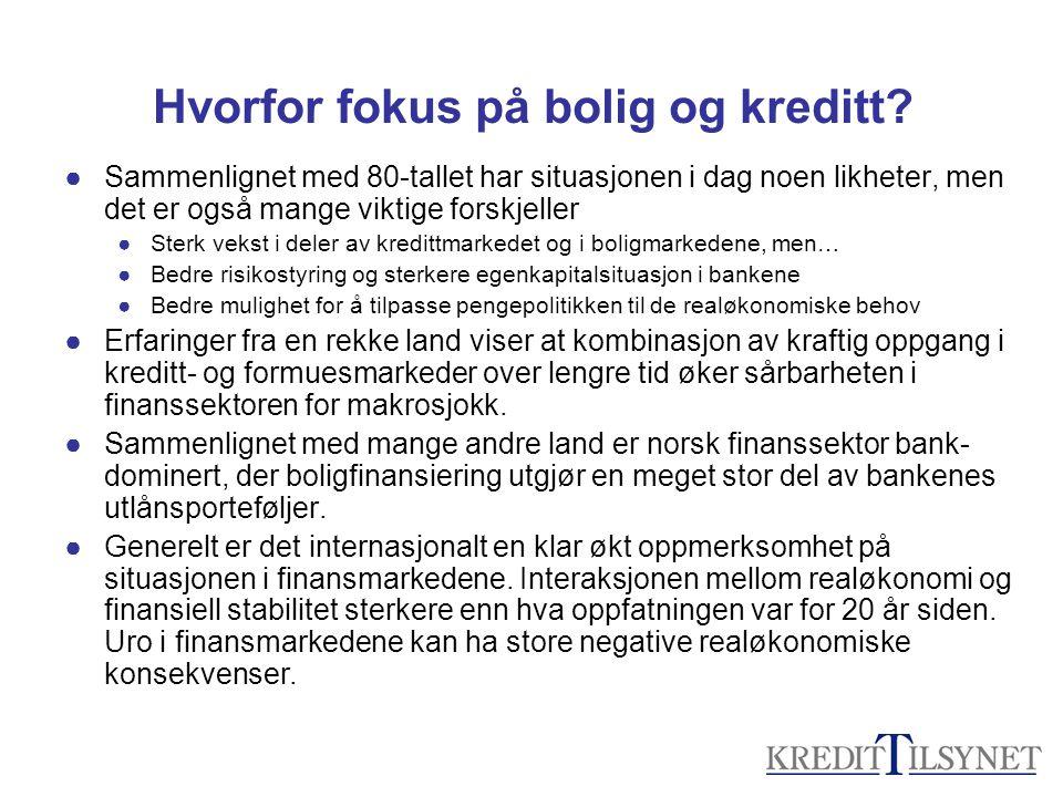 Hvorfor fokus på bolig og kreditt? ●Sammenlignet med 80-tallet har situasjonen i dag noen likheter, men det er også mange viktige forskjeller ●Sterk v
