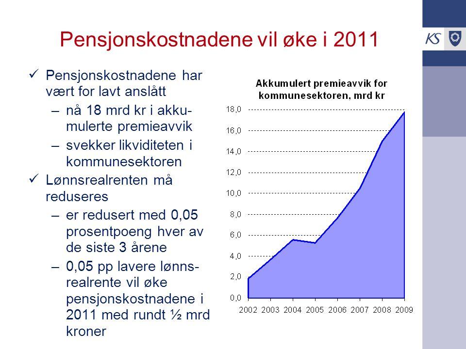 Pensjonskostnadene vil øke i 2011 Pensjonskostnadene har vært for lavt anslått –nå 18 mrd kr i akku- mulerte premieavvik –svekker likviditeten i kommu