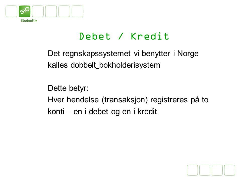 Debet / Kredit Det regnskapssystemet vi benytter i Norge kalles dobbelt bokholderisystem Dette betyr: Hver hendelse (transaksjon) registreres på to ko