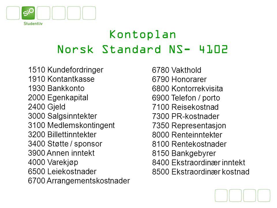 Kontoplan Norsk Standard NS- 4102 1510 Kundefordringer 1910 Kontantkasse 1930 Bankkonto 2000 Egenkapital 2400 Gjeld 3000 Salgsinntekter 3100 Medlemsko