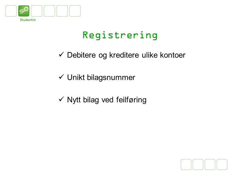 Registrering Debitere og kreditere ulike kontoer Unikt bilagsnummer Nytt bilag ved feilføring