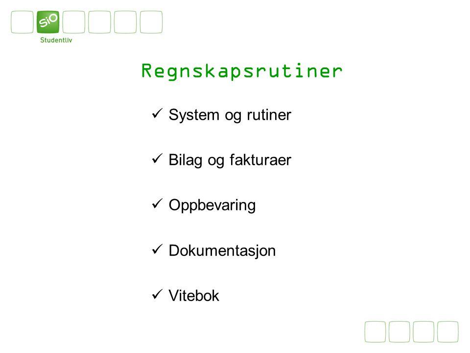 Regnskapsrutiner System og rutiner Bilag og fakturaer Oppbevaring Dokumentasjon Vitebok
