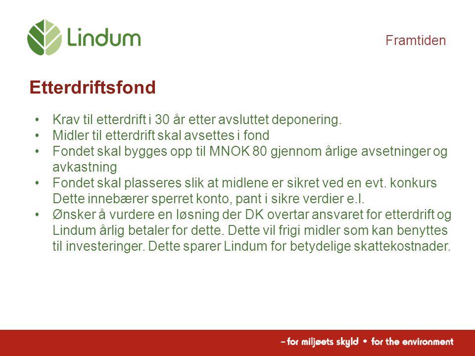 Framtiden Etterdriftsfond Krav til etterdrift i 30 år etter avsluttet deponering.
