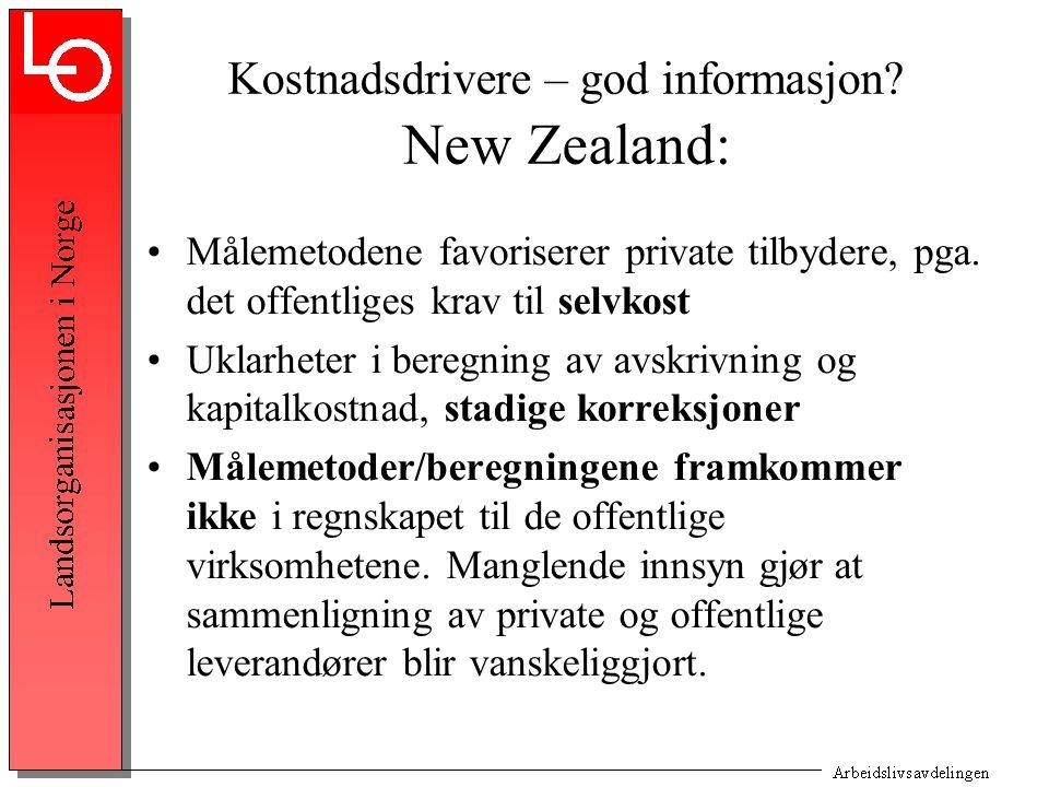 Kostnadsdrivere – god informasjon. New Zealand: Målemetodene favoriserer private tilbydere, pga.