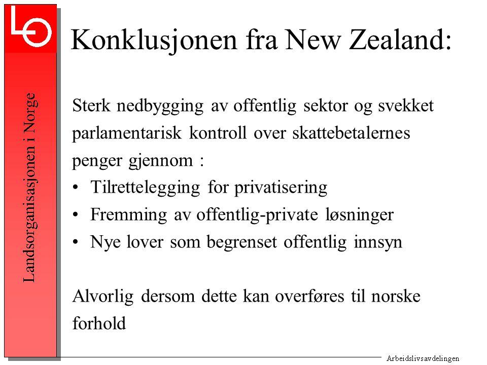 Konklusjonen fra New Zealand: Sterk nedbygging av offentlig sektor og svekket parlamentarisk kontroll over skattebetalernes penger gjennom : Tilrettel