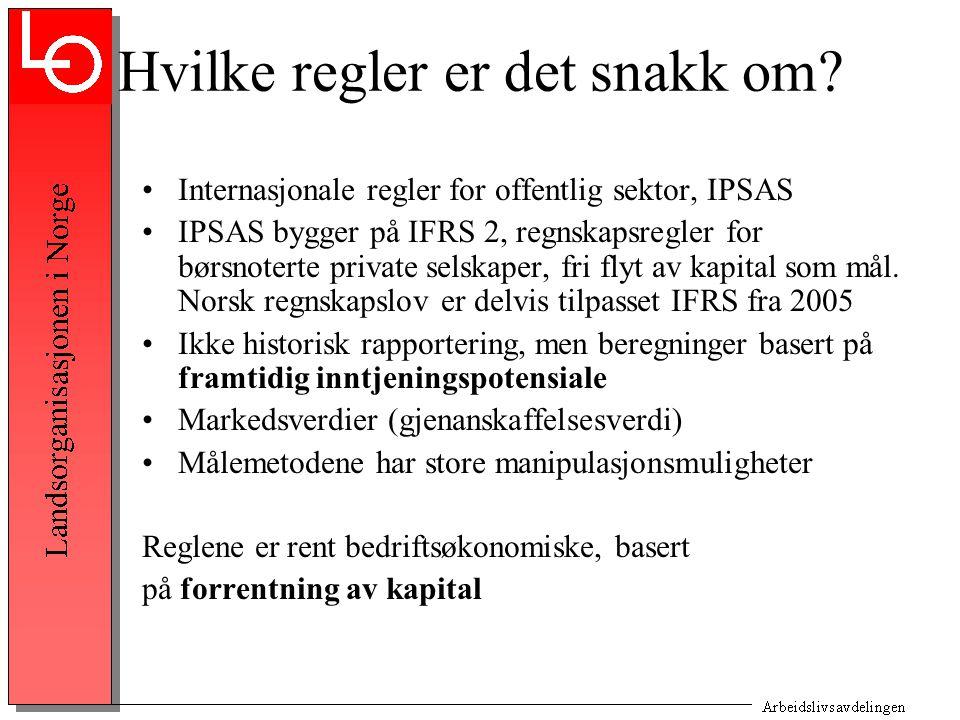 Hvilke regler er det snakk om? Internasjonale regler for offentlig sektor, IPSAS IPSAS bygger på IFRS 2, regnskapsregler for børsnoterte private selsk