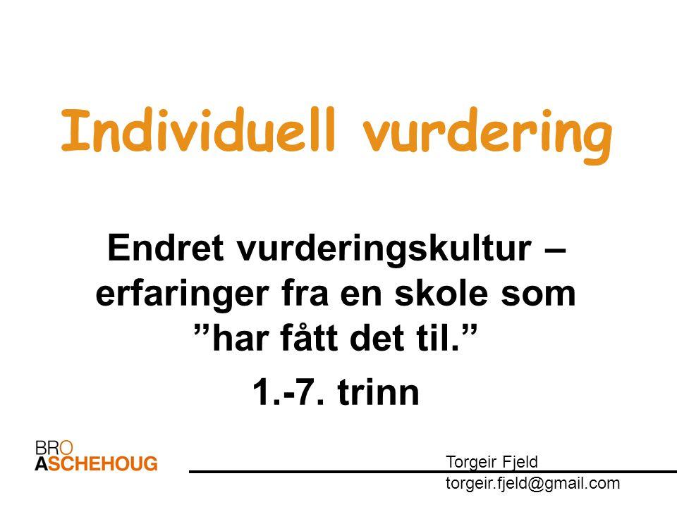 "Individuell vurdering Endret vurderingskultur – erfaringer fra en skole som ""har fått det til."" 1.-7. trinn Torgeir Fjeld torgeir.fjeld@gmail.com"