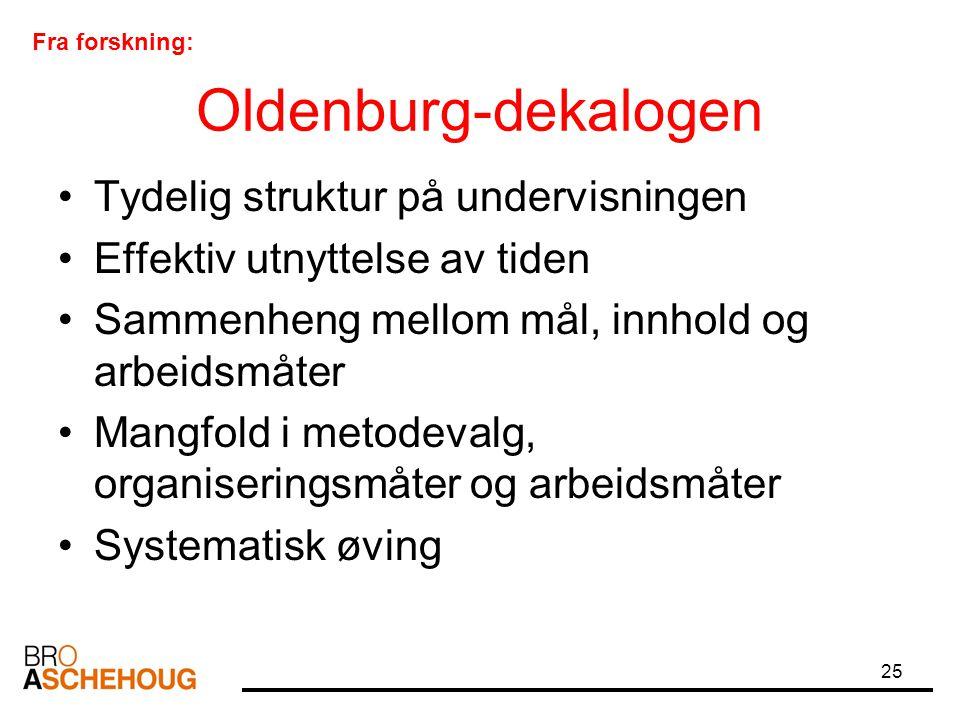 25 Oldenburg-dekalogen Tydelig struktur på undervisningen Effektiv utnyttelse av tiden Sammenheng mellom mål, innhold og arbeidsmåter Mangfold i metod