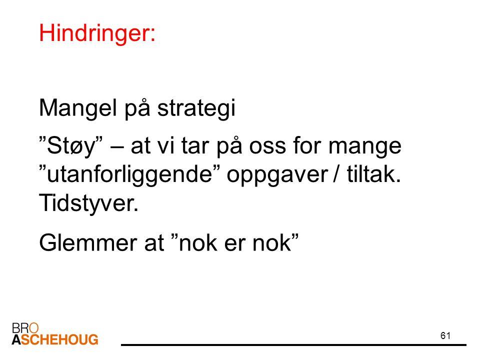 """61 Hindringer: """"Støy"""" – at vi tar på oss for mange """"utanforliggende"""" oppgaver / tiltak. Tidstyver. Mangel på strategi Glemmer at """"nok er nok"""""""