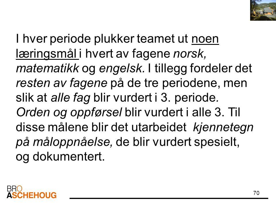 70 I hver periode plukker teamet ut noen læringsmål i hvert av fagene norsk, matematikk og engelsk. I tillegg fordeler det resten av fagene på de tre