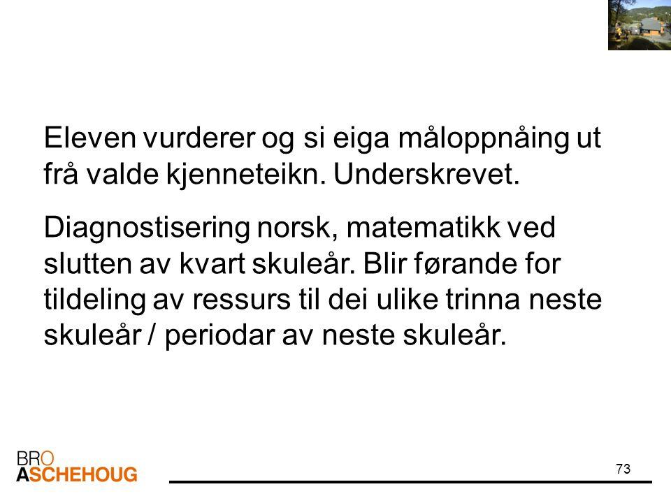 73 Diagnostisering norsk, matematikk ved slutten av kvart skuleår. Blir førande for tildeling av ressurs til dei ulike trinna neste skuleår / periodar