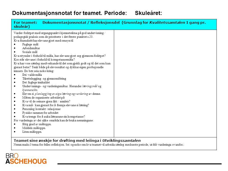 Dokumentasjonsnotat for teamet. Periode: Skuleåret: For teamet: Dokumentasjonsnotat / Refleksjonsdel (Grunnlag for Kvalitetssamtalen 1 gang pr. skule