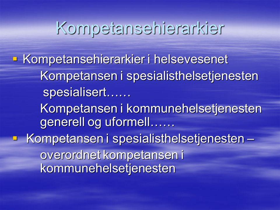 Kompetansehierarkier  Kompetansehierarkier i helsevesenet Kompetansen i spesialisthelsetjenesten spesialisert…… spesialisert…… Kompetansen i kommunehelsetjenesten generell og uformell……  Kompetansen i spesialisthelsetjenesten – overordnet kompetansen i kommunehelsetjenesten