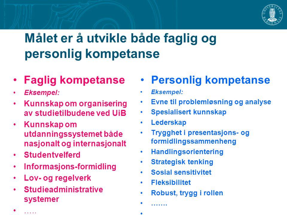 Målet er å utvikle både faglig og personlig kompetanse Faglig kompetanse Eksempel: Kunnskap om organisering av studietilbudene ved UiB Kunnskap om utd